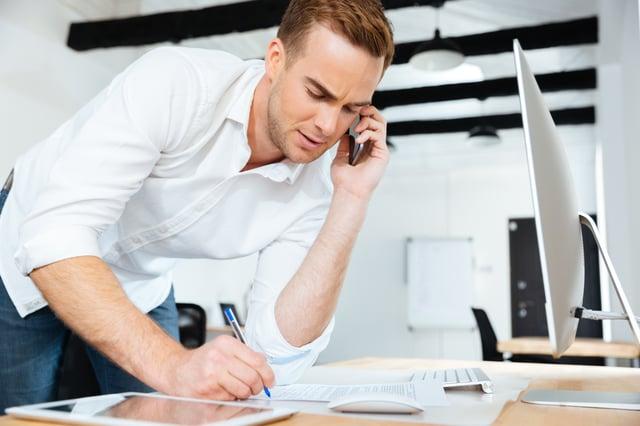 Salesman taking a call